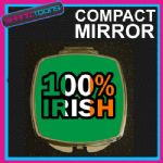 100% IRISH IRELAND FLAG COMPACT LADIES METAL HANDBAG GIFT MIRROR